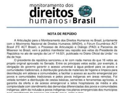 NOTA DE REPÚDIO AOS 16 VETOS DO PRESIDENTE NA LEI nº 14.021
